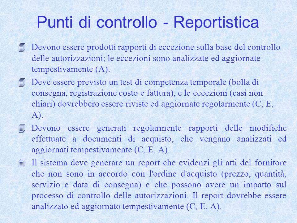 Punti di controllo - Reportistica 4Devono essere prodotti rapporti di eccezione sulla base del controllo delle autorizzazioni; le eccezioni sono analizzate ed aggiornate tempestivamente (A).
