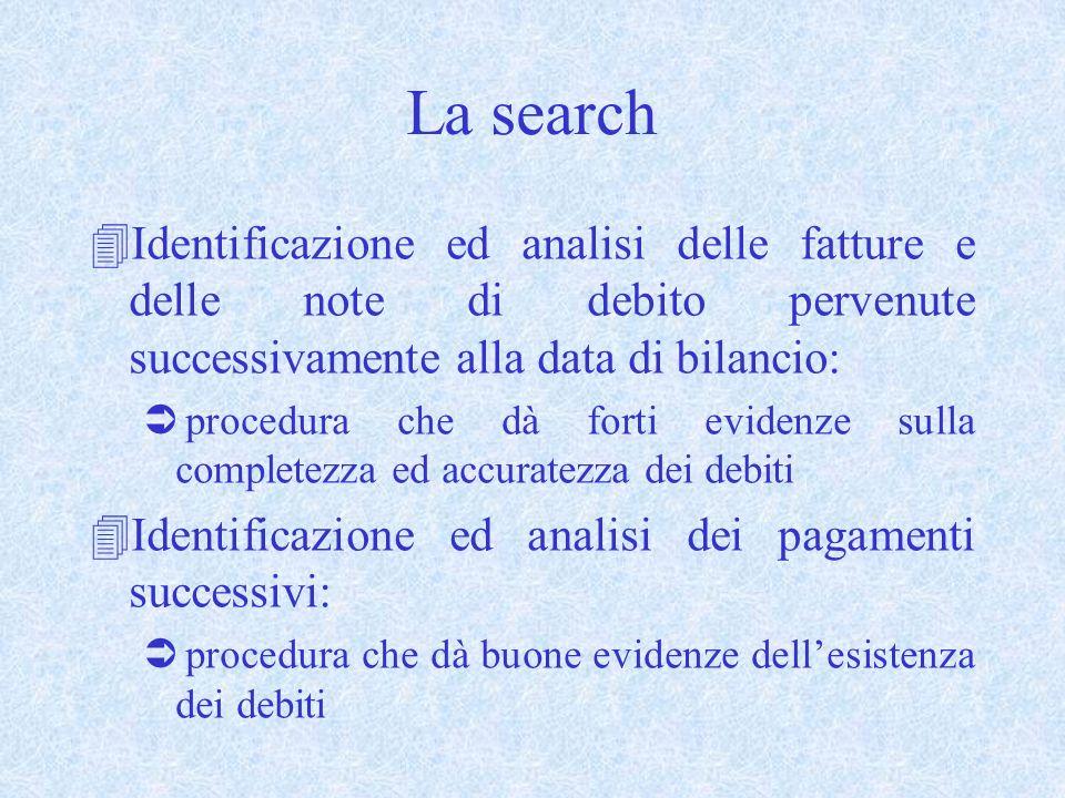 La search 4Identificazione ed analisi delle fatture e delle note di debito pervenute successivamente alla data di bilancio: Ü procedura che dà forti e