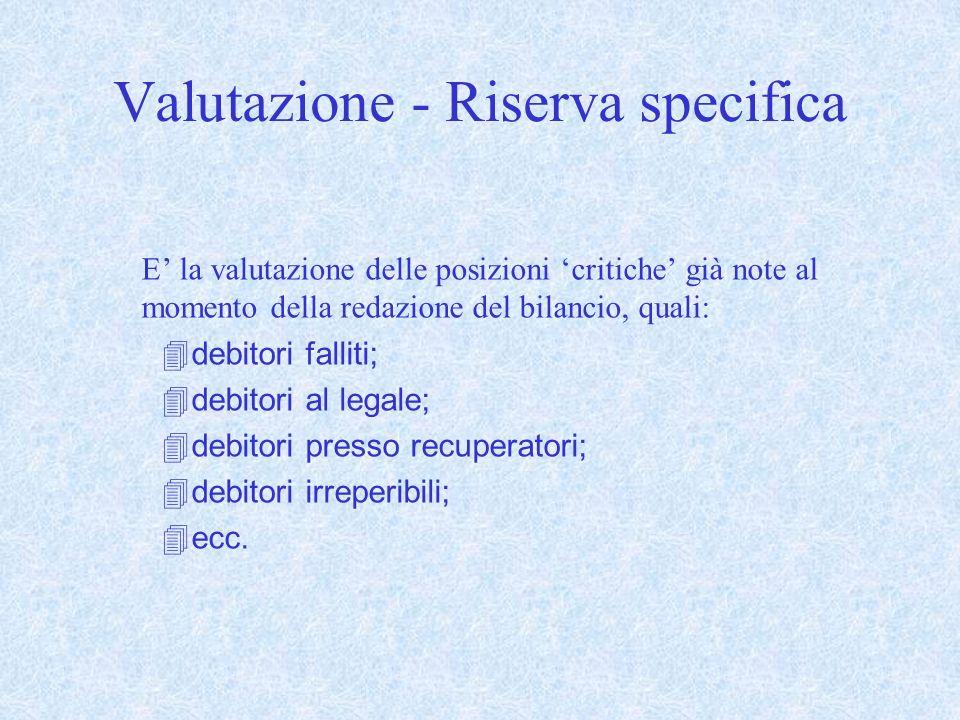 Valutazione - Riserva specifica E la valutazione delle posizioni critiche già note al momento della redazione del bilancio, quali: debitori falliti; d