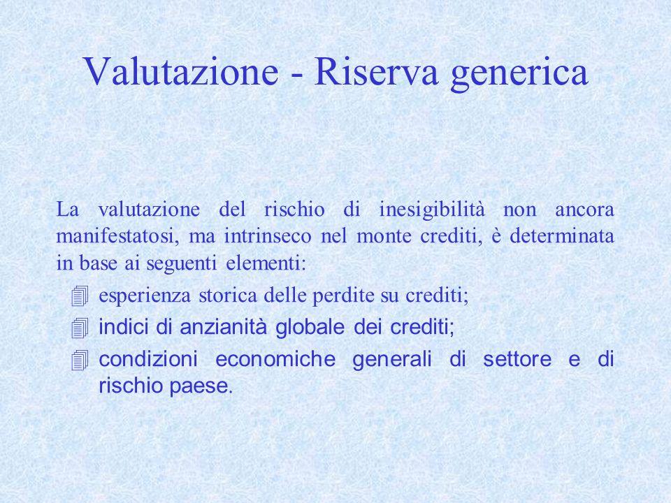 Valutazione - Riserva generica La valutazione del rischio di inesigibilità non ancora manifestatosi, ma intrinseco nel monte crediti, è determinata in