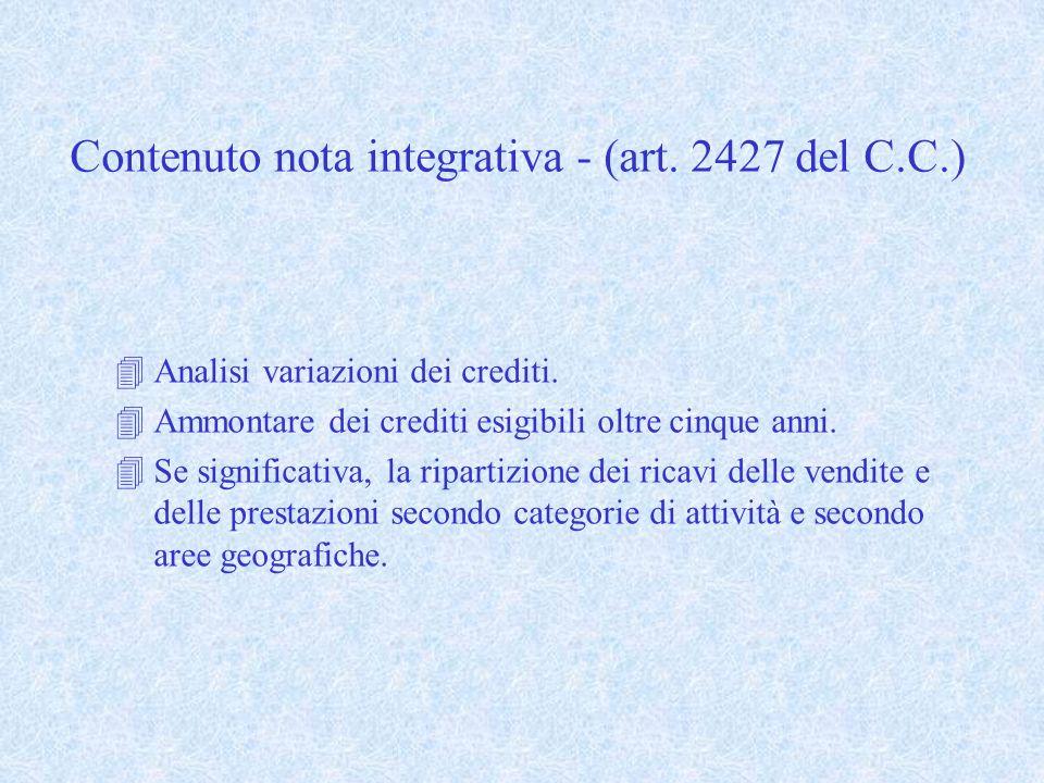 Contenuto nota integrativa - (art. 2427 del C.C.) 4Analisi variazioni dei crediti. 4Ammontare dei crediti esigibili oltre cinque anni. 4Se significati