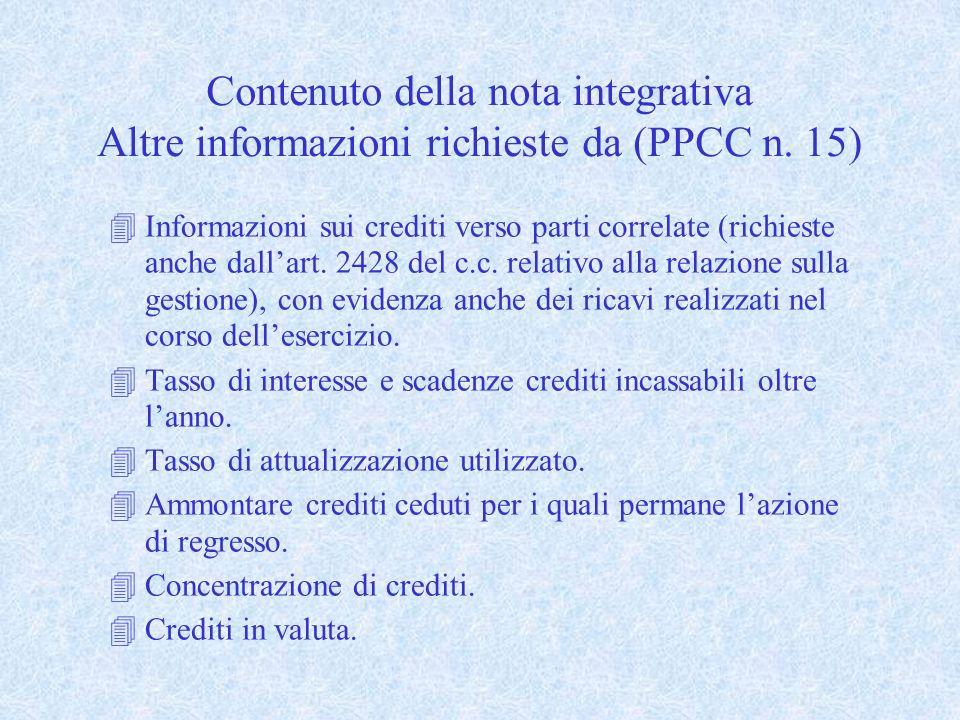 Contenuto della nota integrativa Altre informazioni richieste da (PPCC n. 15) 4Informazioni sui crediti verso parti correlate (richieste anche dallart