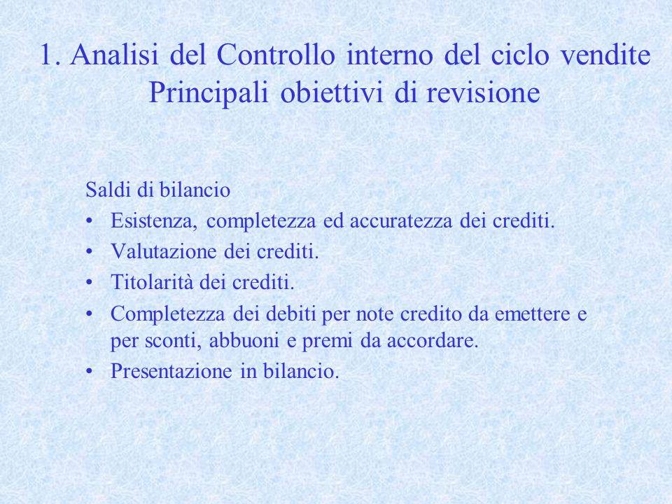 1. Analisi del Controllo interno del ciclo vendite Principali obiettivi di revisione Saldi di bilancio Esistenza, completezza ed accuratezza dei credi