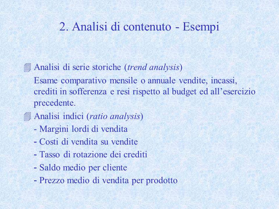 2. Analisi di contenuto - Esempi 4Analisi di serie storiche (trend analysis) Esame comparativo mensile o annuale vendite, incassi, crediti in sofferen
