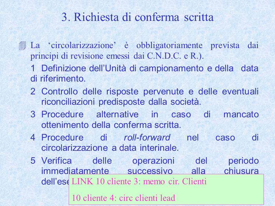 3. Richiesta di conferma scritta 4La circolarizzazione è obbligatoriamente prevista dai principi di revisione emessi dai C.N.D.C. e R.). 1Definizione
