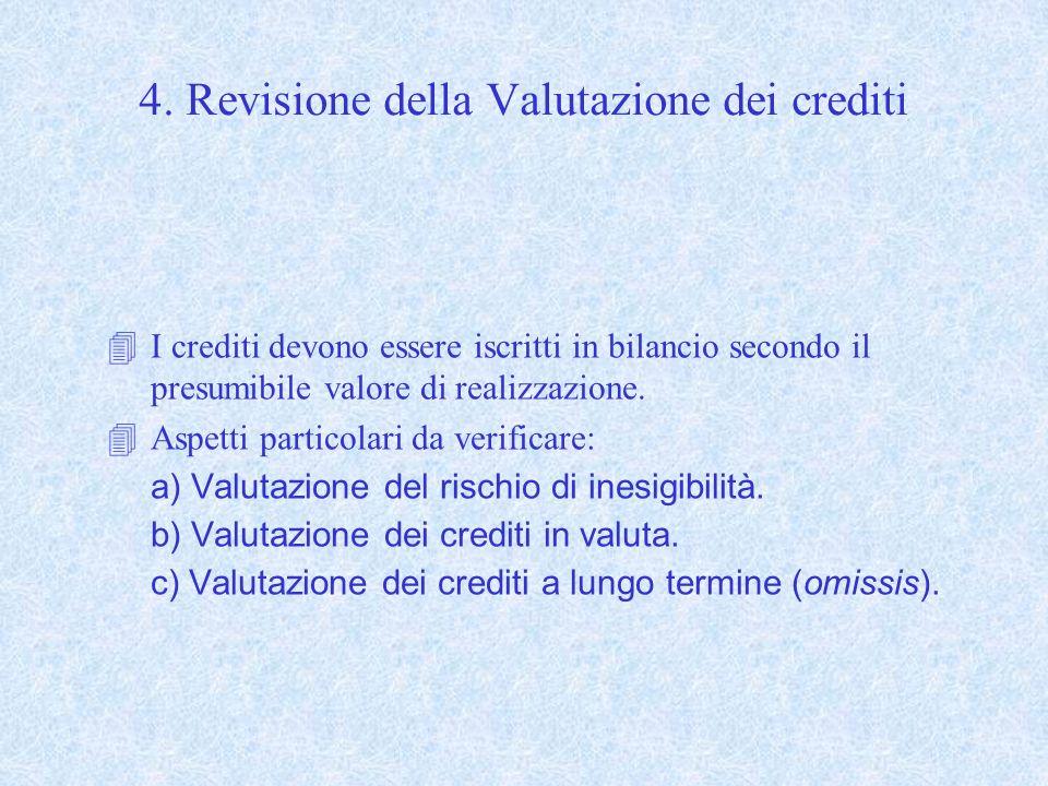 4. Revisione della Valutazione dei crediti 4I crediti devono essere iscritti in bilancio secondo il presumibile valore di realizzazione. 4Aspetti part