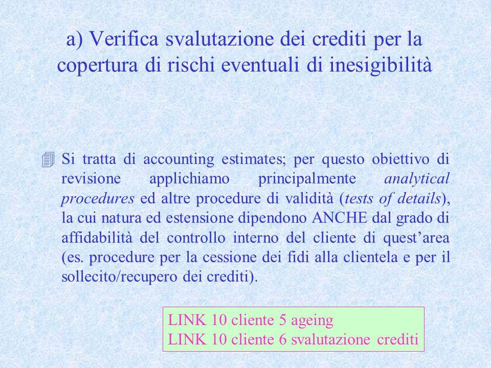 a) Verifica svalutazione dei crediti per la copertura di rischi eventuali di inesigibilità 4Si tratta di accounting estimates; per questo obiettivo di
