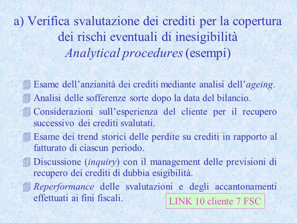 a) Verifica svalutazione dei crediti per la copertura dei rischi eventuali di inesigibilità Analytical procedures (esempi) 4Esame dellanzianità dei cr