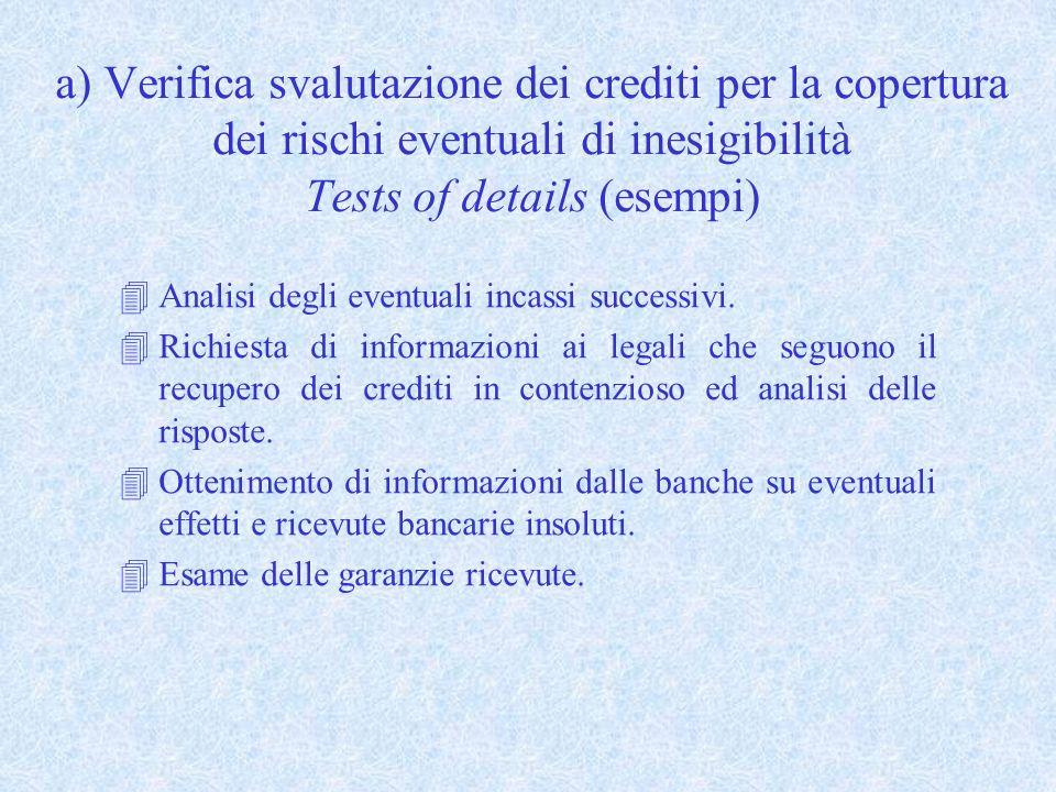 a) Verifica svalutazione dei crediti per la copertura dei rischi eventuali di inesigibilità Tests of details (esempi) 4Analisi degli eventuali incassi