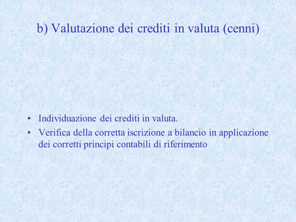 b) Valutazione dei crediti in valuta (cenni) Individuazione dei crediti in valuta. Verifica della corretta iscrizione a bilancio in applicazione dei c