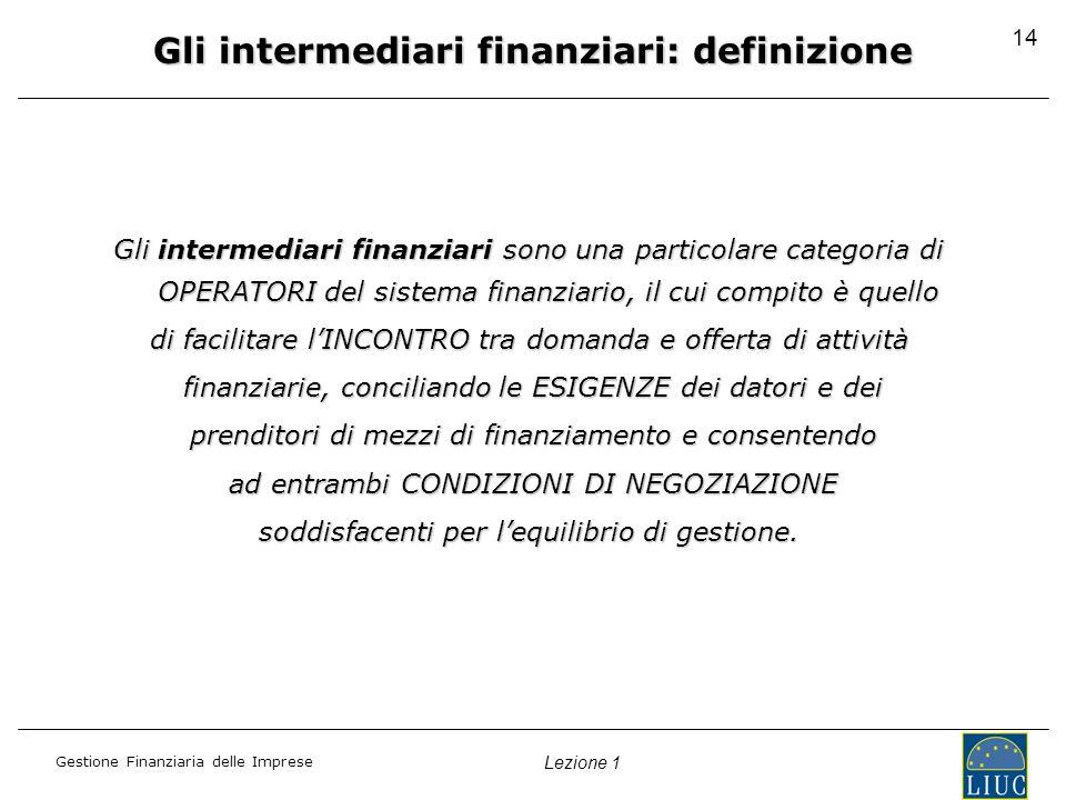 Gestione Finanziaria delle Imprese Lezione 1 14 Gli intermediari finanziari: definizione Gli intermediari finanziari sono una particolare categoria di OPERATORI del sistema finanziario, il cui compito è quello di facilitare lINCONTRO tra domanda e offerta di attività finanziarie, conciliando le ESIGENZE dei datori e dei finanziarie, conciliando le ESIGENZE dei datori e dei prenditori di mezzi di finanziamento e consentendo prenditori di mezzi di finanziamento e consentendo ad entrambi CONDIZIONI DI NEGOZIAZIONE ad entrambi CONDIZIONI DI NEGOZIAZIONE soddisfacenti per lequilibrio di gestione.
