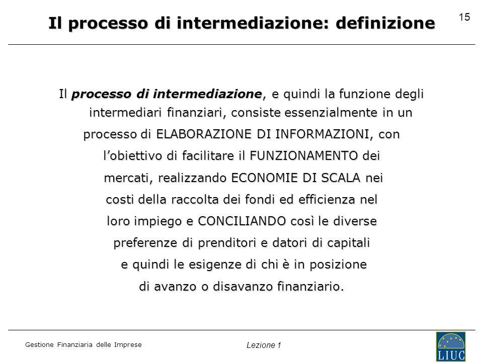 Gestione Finanziaria delle Imprese Lezione 1 15 Il processo di intermediazione: definizione Il processo di intermediazione, e quindi la funzione degli intermediari finanziari, consiste essenzialmente in un processo di ELABORAZIONE DI INFORMAZIONI, con lobiettivo di facilitare il FUNZIONAMENTO dei mercati, realizzando ECONOMIE DI SCALA nei mercati, realizzando ECONOMIE DI SCALA nei costi della raccolta dei fondi ed efficienza nel loro impiego e CONCILIANDO così le diverse preferenze di prenditori e datori di capitali e quindi le esigenze di chi è in posizione e quindi le esigenze di chi è in posizione di avanzo o disavanzo finanziario.