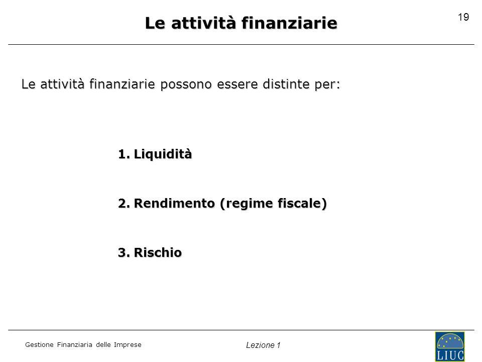 Gestione Finanziaria delle Imprese Lezione 1 19 Le attività finanziarie Le attività finanziarie possono essere distinte per: 1.Liquidità 2.Rendimento (regime fiscale) 3.Rischio