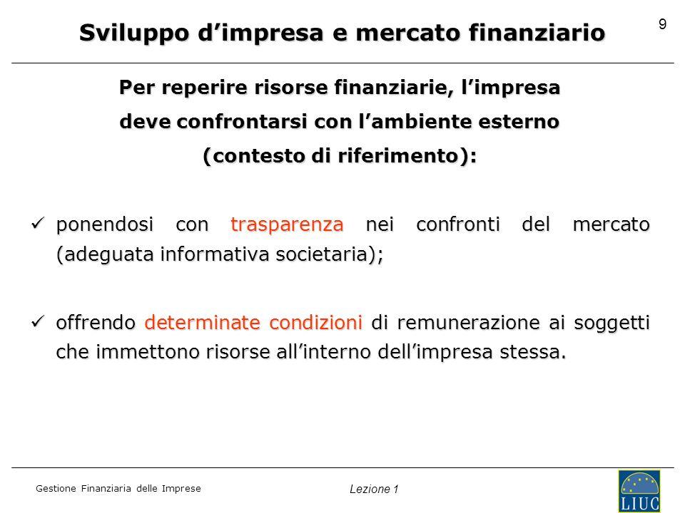 Gestione Finanziaria delle Imprese Lezione 1 9 Sviluppo dimpresa e mercato finanziario Per reperire risorse finanziarie, limpresa deve confrontarsi con lambiente esterno (contesto di riferimento): ponendosi con trasparenza nei confronti del mercato (adeguata informativa societaria); ponendosi con trasparenza nei confronti del mercato (adeguata informativa societaria); offrendo determinate condizioni di remunerazione ai soggetti che immettono risorse allinterno dellimpresa stessa.