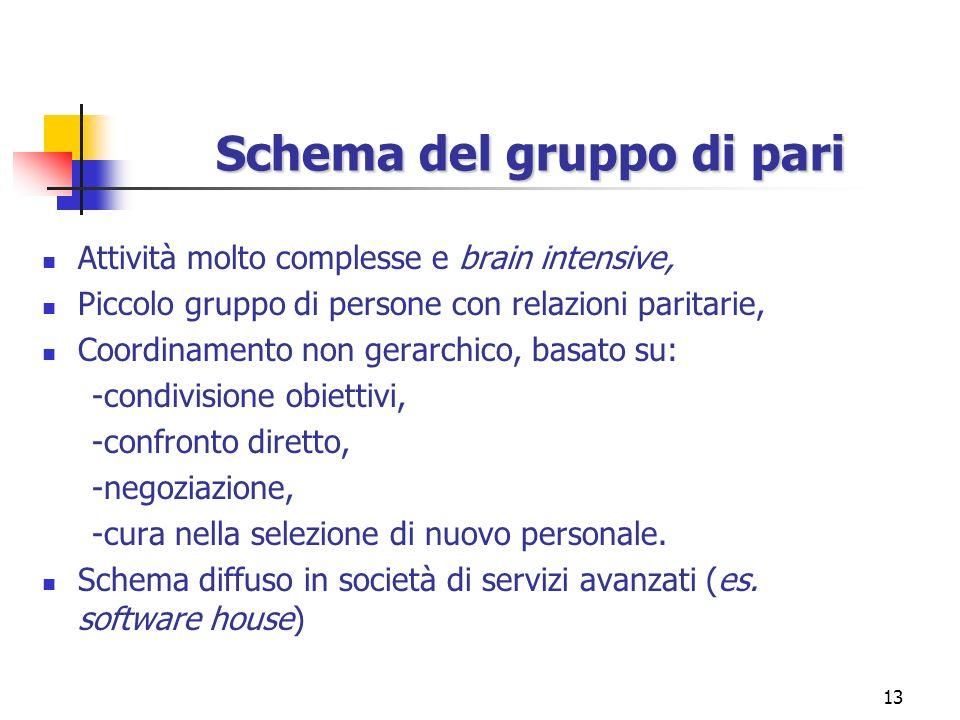 13 Schema del gruppo di pari Attività molto complesse e brain intensive, Piccolo gruppo di persone con relazioni paritarie, Coordinamento non gerarchi
