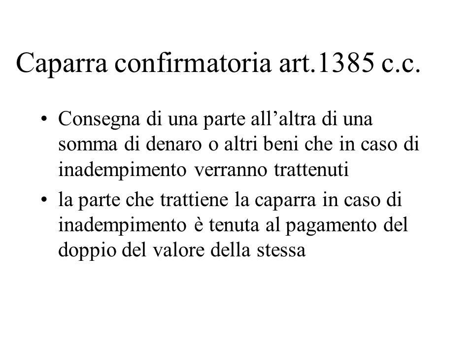 Caparra confirmatoria art.1385 c.c.