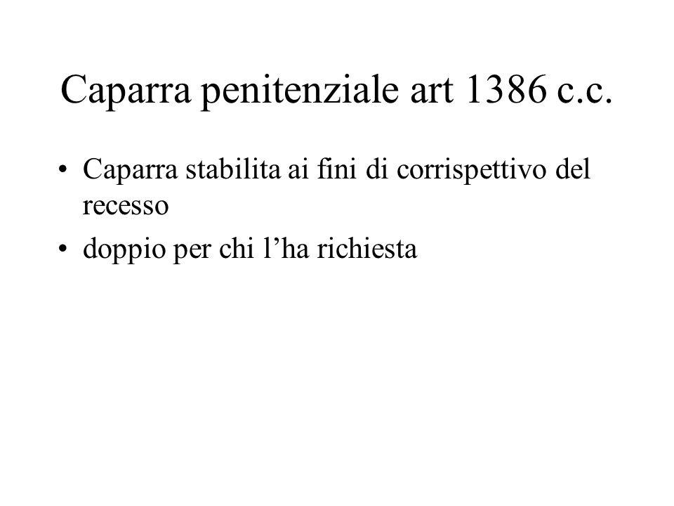 Caparra penitenziale art 1386 c.c.