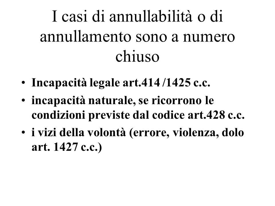 I casi di annullabilità o di annullamento sono a numero chiuso Incapacità legale art.414 /1425 c.c.