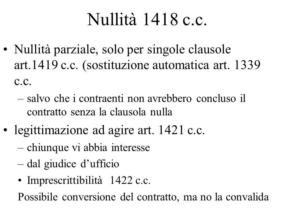 Nullità 1418 c.c.Nullità parziale, solo per singole clausole art.1419 c.c.