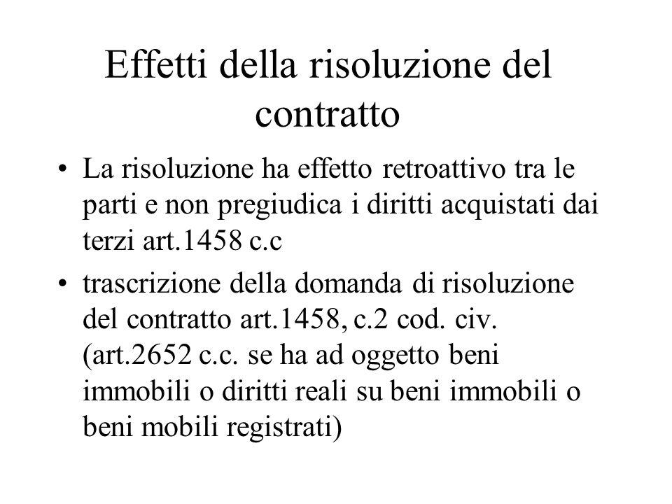 Effetti della risoluzione del contratto La risoluzione ha effetto retroattivo tra le parti e non pregiudica i diritti acquistati dai terzi art.1458 c.c trascrizione della domanda di risoluzione del contratto art.1458, c.2 cod.