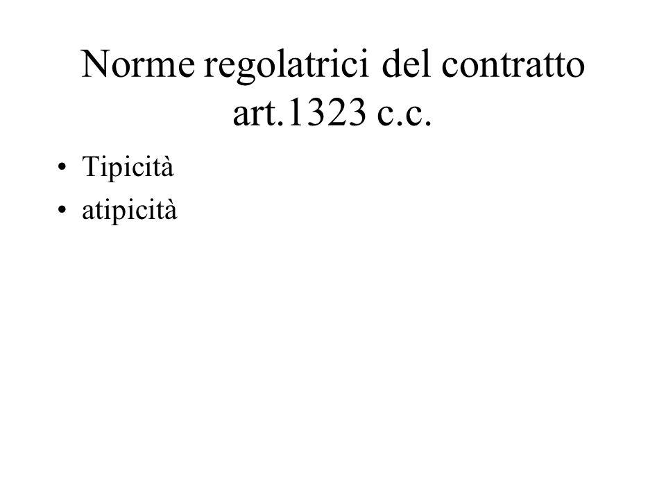 Norme regolatrici del contratto art.1323 c.c. Tipicità atipicità