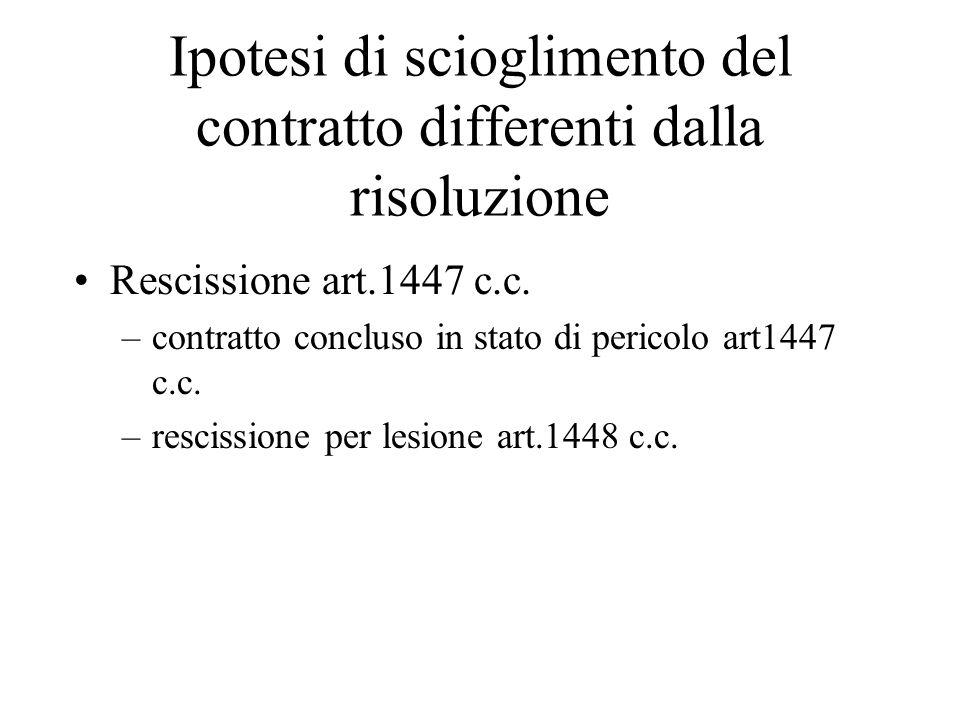 Ipotesi di scioglimento del contratto differenti dalla risoluzione Rescissione art.1447 c.c.