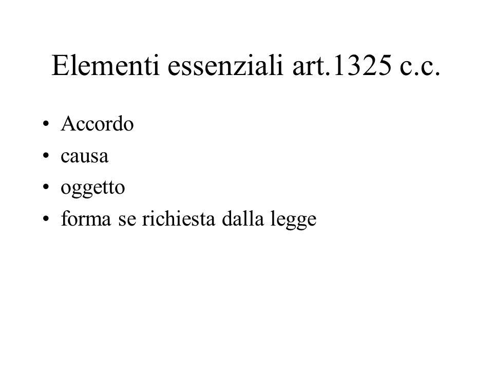 Elementi essenziali art.1325 c.c. Accordo causa oggetto forma se richiesta dalla legge