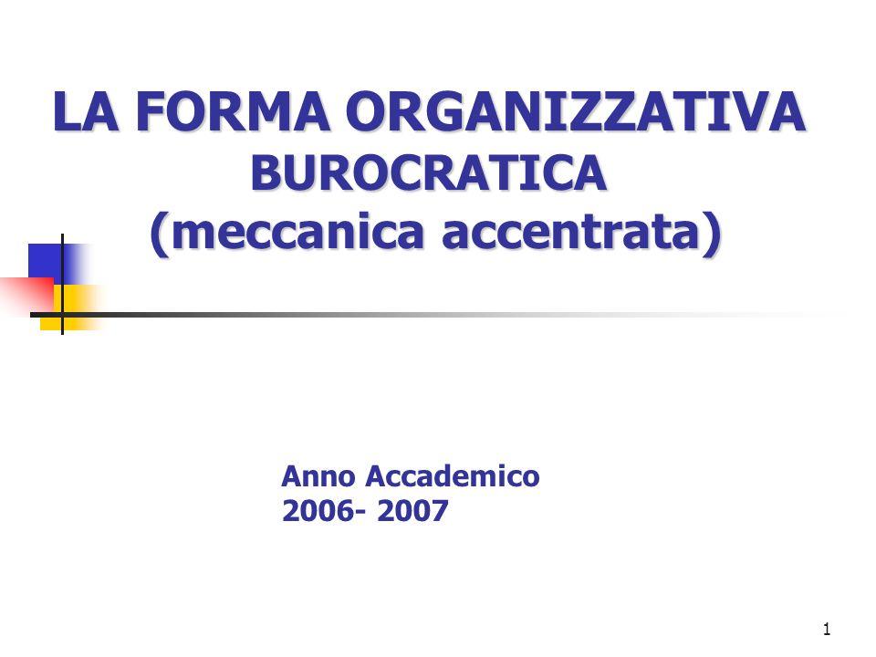 1 LA FORMA ORGANIZZATIVA BUROCRATICA (meccanica accentrata) Anno Accademico 2006- 2007