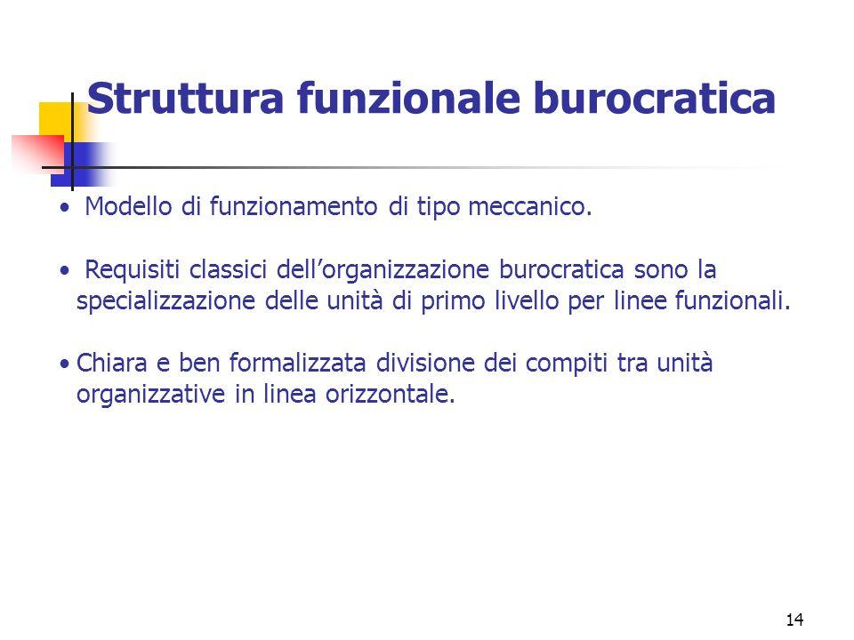 14 Struttura funzionale burocratica Modello di funzionamento di tipo meccanico. Requisiti classici dellorganizzazione burocratica sono la specializzaz