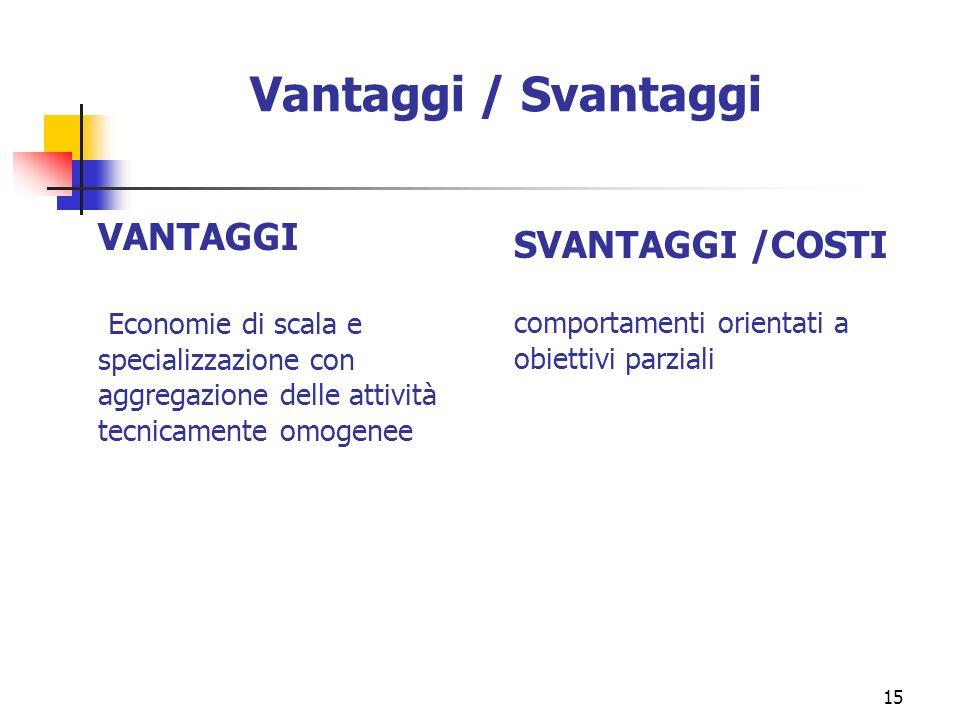 15 Vantaggi / Svantaggi VANTAGGI Economie di scala e specializzazione con aggregazione delle attività tecnicamente omogenee SVANTAGGI /COSTI comportam