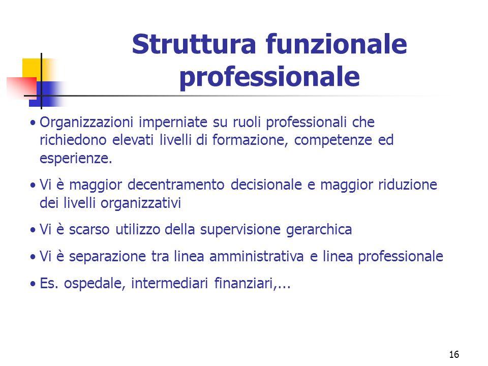 16 Struttura funzionale professionale Organizzazioni imperniate su ruoli professionali che richiedono elevati livelli di formazione, competenze ed esp