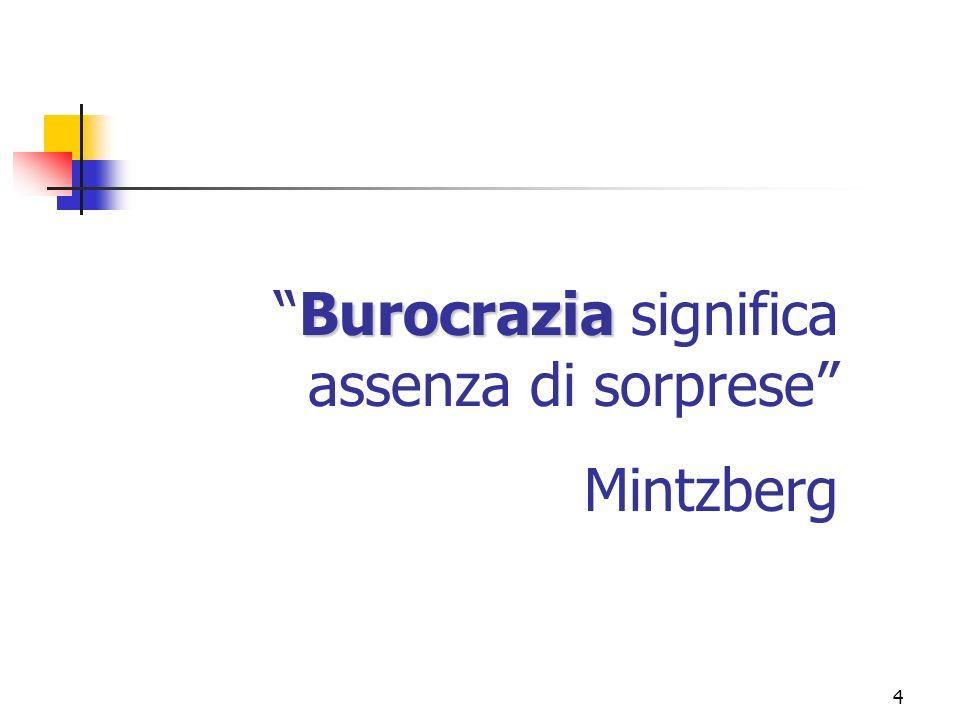 4 BurocraziaBurocrazia significa assenza di sorprese Mintzberg