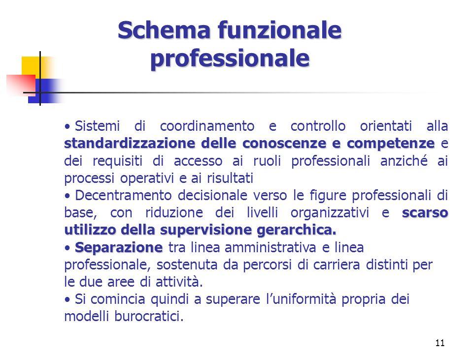 11 Schema funzionale professionale standardizzazione delle conoscenze e competenze Sistemi di coordinamento e controllo orientati alla standardizzazio