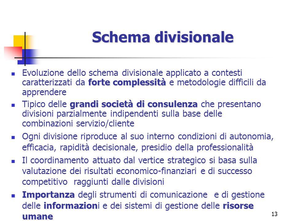 13 Schema divisionale forte complessità Evoluzione dello schema divisionale applicato a contesti caratterizzati da forte complessità e metodologie dif