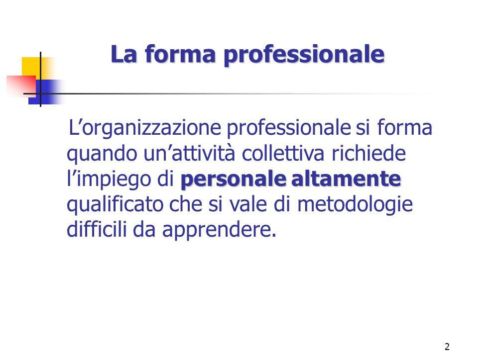 2 La forma professionale personale altamente Lorganizzazione professionale si forma quando unattività collettiva richiede limpiego di personale altame