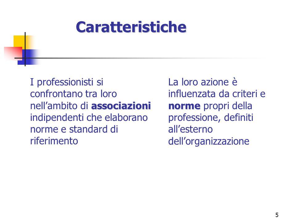 5 Caratteristiche Caratteristiche associazioni I professionisti si confrontano tra loro nellambito di associazioni indipendenti che elaborano norme e
