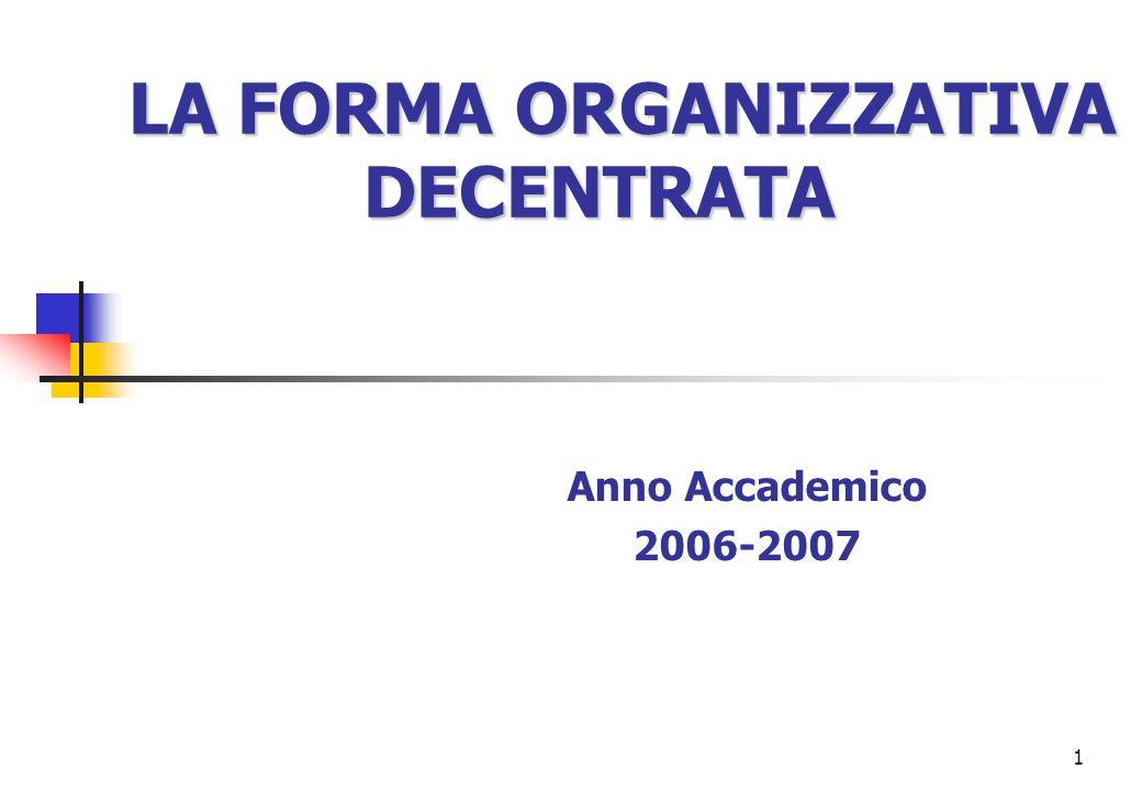 1 LA FORMA ORGANIZZATIVA DECENTRATA Anno Accademico 2006-2007