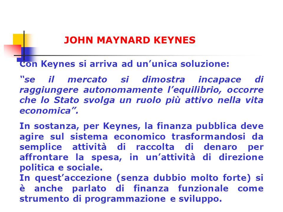 Keynes ha pertanto ritenuto che la finanza pubblica potesse eliminare gli squilibri territoriali, correggere gli andamenti dei cicli economici, incrementare il reddito nazionale, mantenere in pieno regime occupazionale le varie forme di produzione e infine prevedere le esigenze delle generazioni future.