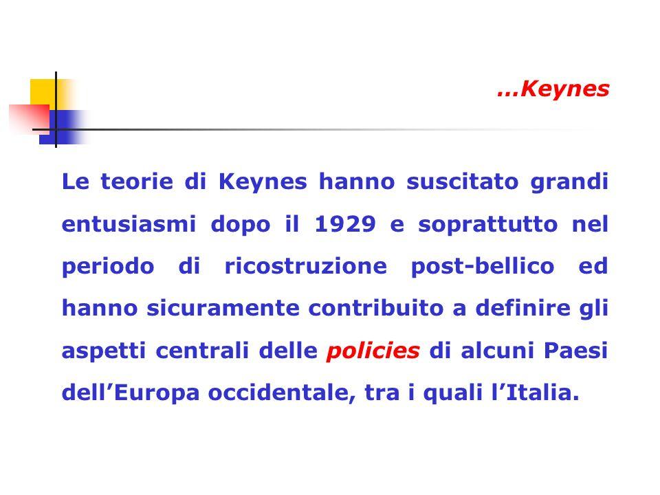 Le teorie di Keynes hanno suscitato grandi entusiasmi dopo il 1929 e soprattutto nel periodo di ricostruzione post-bellico ed hanno sicuramente contri