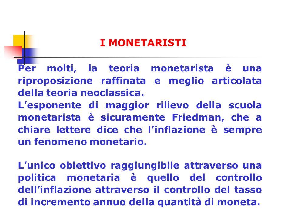 Per molti, la teoria monetarista è una riproposizione raffinata e meglio articolata della teoria neoclassica. Lesponente di maggior rilievo della scuo