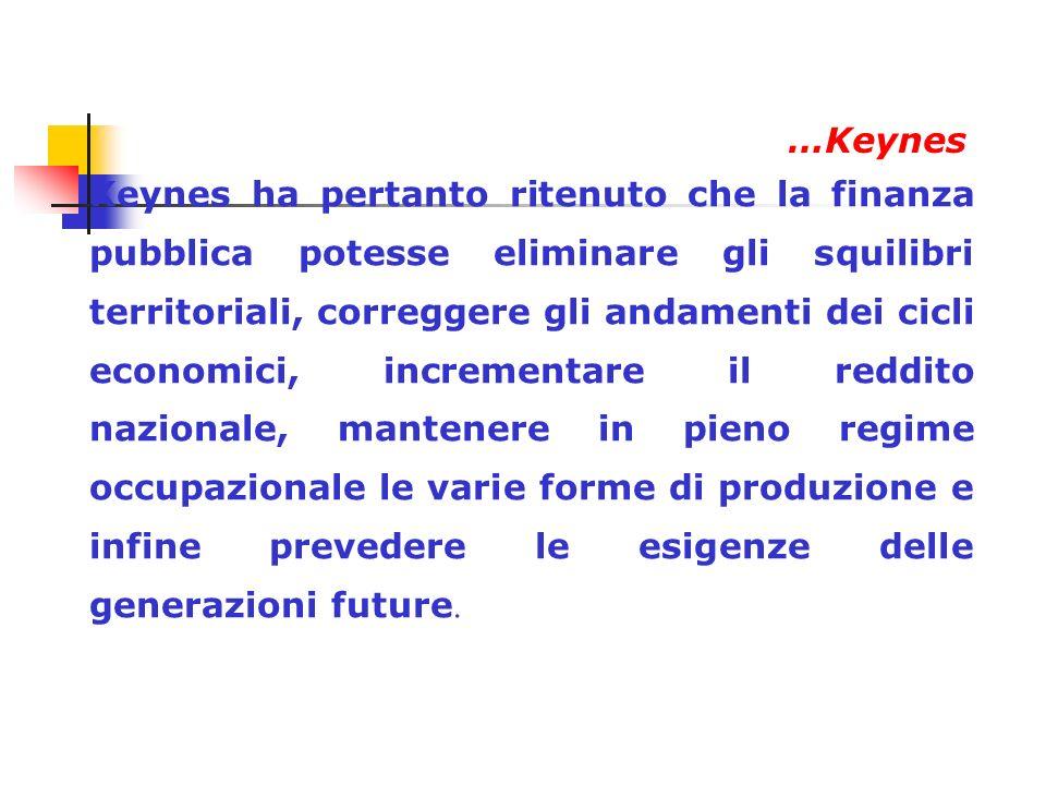 In sostanza, per Keynes, la finanza pubblica deve agire sul sistema economico trasformandosi da semplice attività di raccolta di denaro per affrontare la spesa, in unattività di direzione politica e sociale.