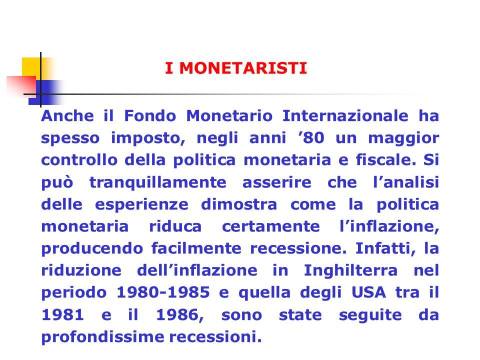 Anche il Fondo Monetario Internazionale ha spesso imposto, negli anni 80 un maggior controllo della politica monetaria e fiscale. Si può tranquillamen