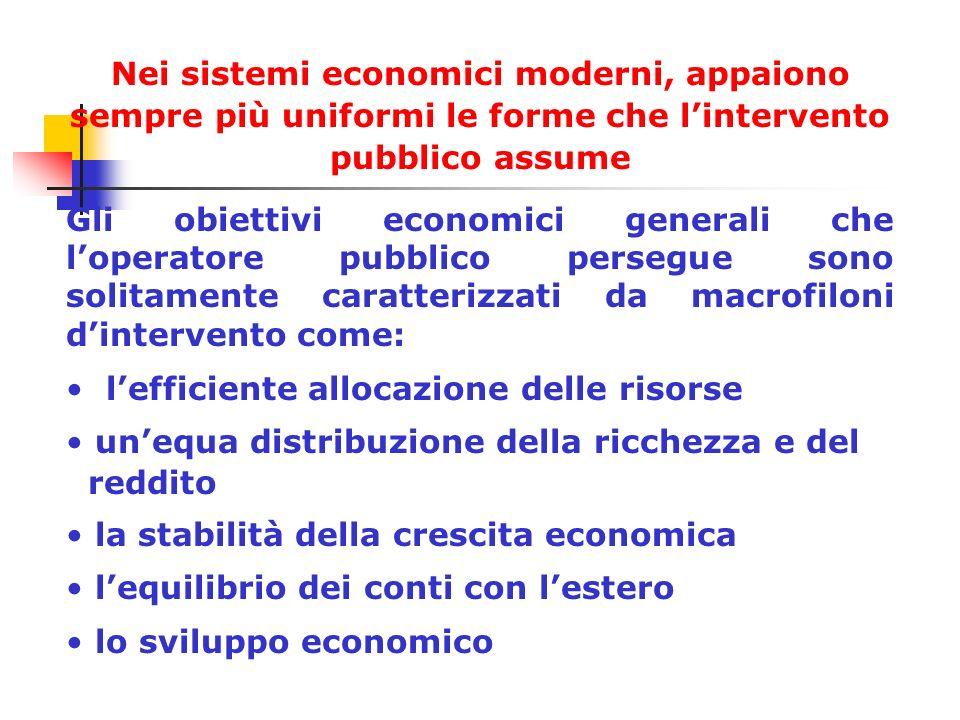 Nei sistemi economici moderni, appaiono sempre più uniformi le forme che lintervento pubblico assume Gli obiettivi economici generali che loperatore p