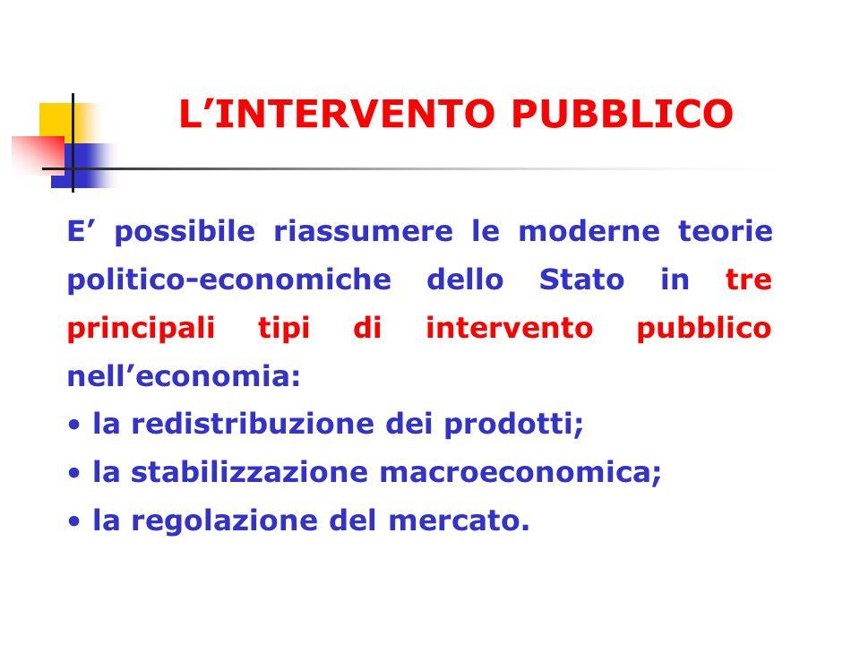 E possibile riassumere le moderne teorie politico-economiche dello Stato in tre principali tipi di intervento pubblico nelleconomia: la redistribuzion