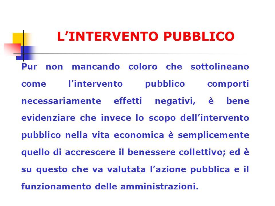Pur non mancando coloro che sottolineano come lintervento pubblico comporti necessariamente effetti negativi, è bene evidenziare che invece lo scopo d