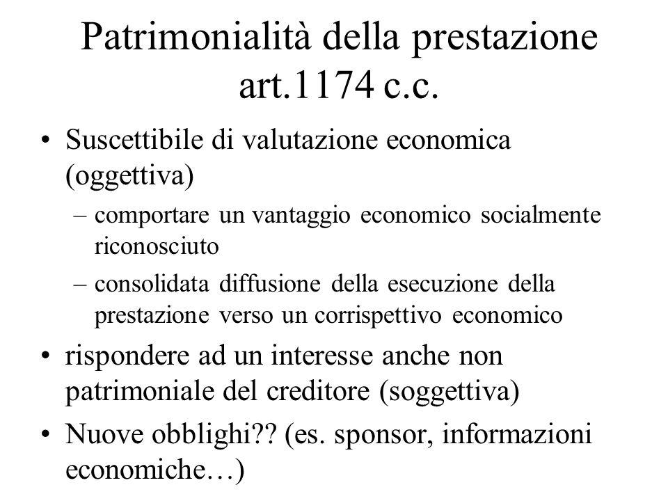Patrimonialità della prestazione art.1174 c.c. Suscettibile di valutazione economica (oggettiva) –comportare un vantaggio economico socialmente ricono