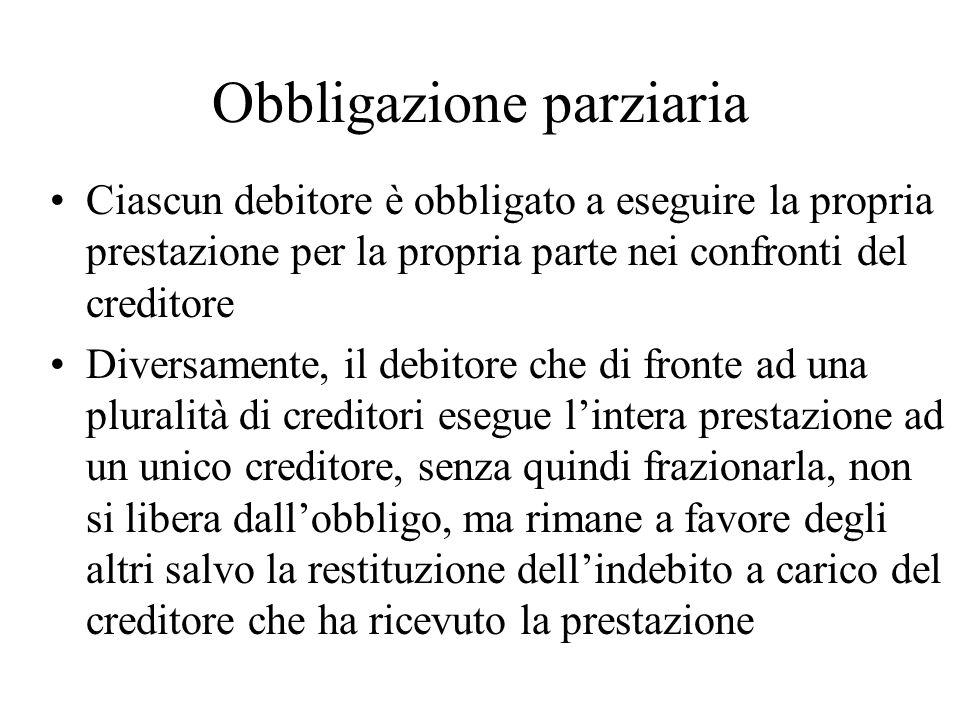 Obbligazione parziaria Ciascun debitore è obbligato a eseguire la propria prestazione per la propria parte nei confronti del creditore Diversamente, i