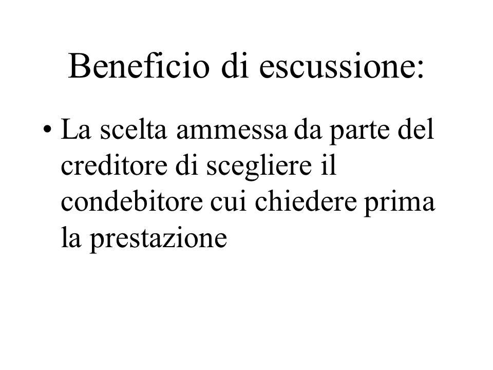 Beneficio di escussione: La scelta ammessa da parte del creditore di scegliere il condebitore cui chiedere prima la prestazione