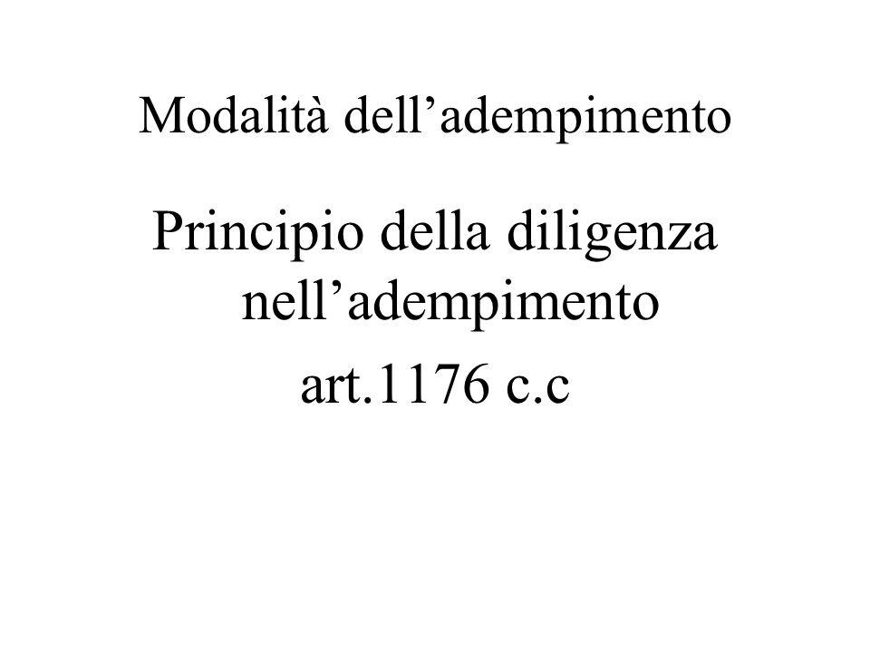 Modalità delladempimento Principio della diligenza nelladempimento art.1176 c.c