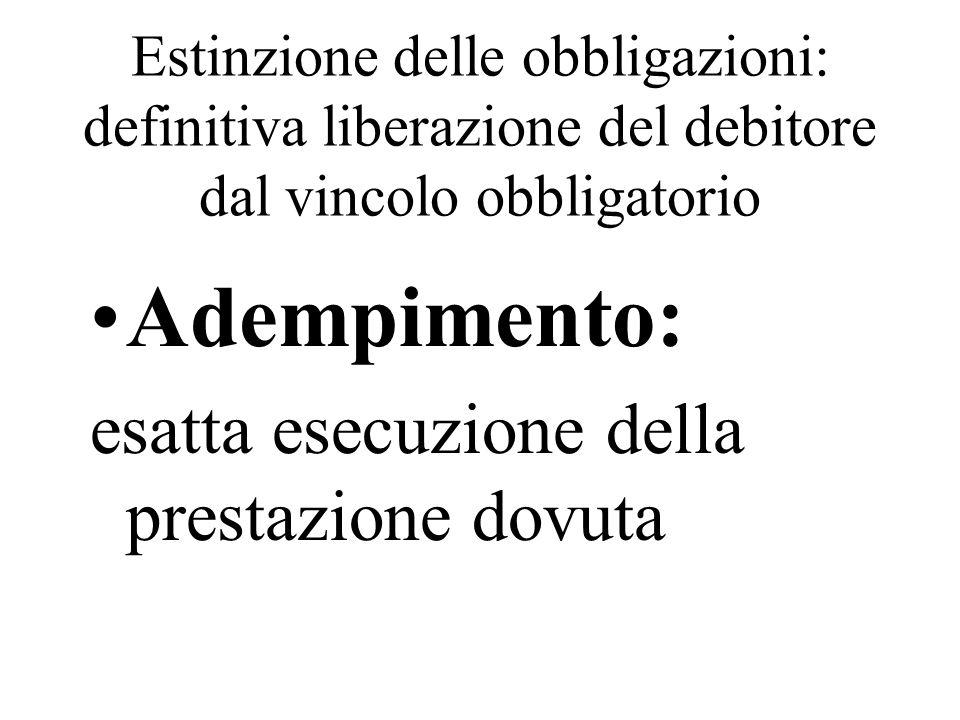 Estinzione delle obbligazioni: definitiva liberazione del debitore dal vincolo obbligatorio Adempimento: esatta esecuzione della prestazione dovuta